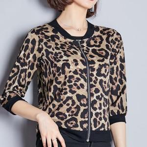 Leopard Prints Zipper Closure Full Sleeves Winter Outwear Jackets - Light Brown