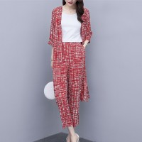Two Pieces Shawl Neck Mesh Pattern Women Fashion Suit - Red