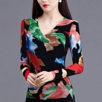 V Neck Full Sleeves Printed Colorful Blouse Top - Multicolors