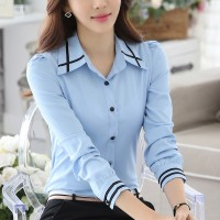 Formal Wear Button Up Full Sleeves Women Shirt - Sky Blue