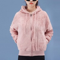Fluffy Zipper Closure Women Fashion Outwear Hoodie Jacket - Pink