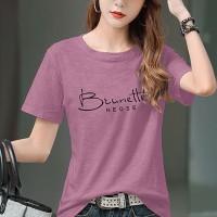 Digital Printed Round Neck Short Sleeves T-Shirt - Purple