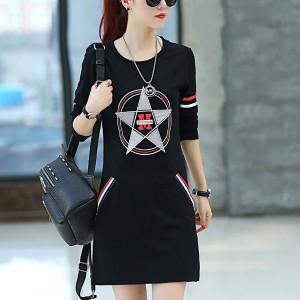Contrast Striped Mini Length Fashion Wear Dress