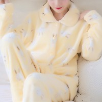 Animal Prints Thick Fabric Night Wear Winter Suit - Yellow