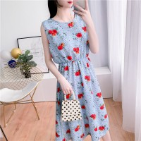 Round Neck Flowers Printed Waist Band Mini Dress - Blue