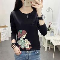 Girl Printed Round Neck Full Sleeves T-Shirt - Black