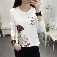 Girl Printed Round Neck Full Sleeves T-Shirt - White