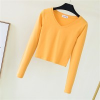 V Neck Full Sleeved Women Crop Top - Yellow