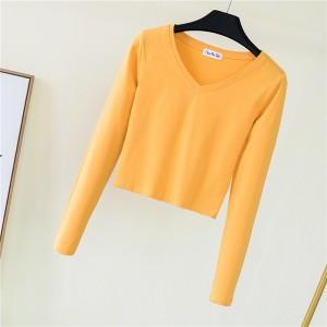 V Neck Full Sleeved Women Crop Top - Yellow