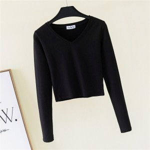 V Neck Full Sleeved Women Crop Top - Black