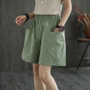 Elastic Waist Loose Wear Sexy Wear Women Shorts - Green