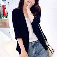 Suit Neck Casual Wear Half Sleeves Outwear Coat Jacket - Black