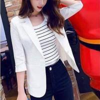 Suit Neck Casual Wear Half Sleeves Outwear Coat Jacket - White