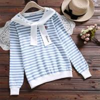 Striped Long Sleeves Casual Wear Women Jumper Top - Blue