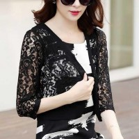 Floral See Through Lace Outwear Women Fashion Top