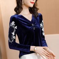 Thread Art Velvet V Neck Elegant Wear Tops - Blue