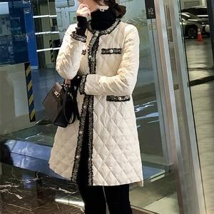 Patchwork Button Closure Luxury Winter Wear Long Jacket Coat - White