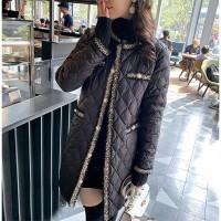 Patchwork Button Closure Luxury Winter Wear Long Jacket Coat - Black