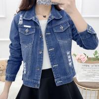 Denim Duo Pockets Shirt Collar Full Sleeves Jacket - Blue