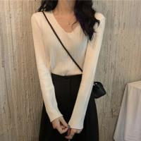 V Neck Slim Fit Winter Wear Women Top - White