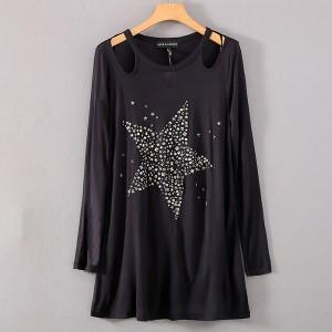 Sequins Decorative Round Neck Crop Blouse Top - Black