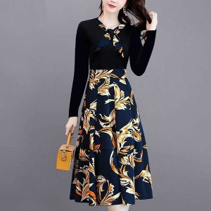 Knotted Neck Full Sleeves Floral Skirt Dress - Multicolors