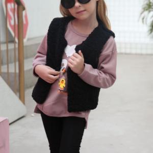 Sleeveless Fluffly Cute Girls Wear Winter Cardigan - Black