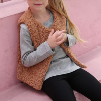 Sleeveless Fluffly Cute Girls Wear Winter Cardigan - Rose Pink