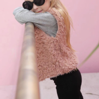 Sleeveless Fluffly Cute Girls Wear Winter Cardigan - Pink