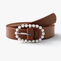 Women Fashion Casual Pearl Decorative Belt - Light Brown