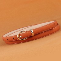 Girls Fashion Wild Candy Color Thin Belt - Light Brown