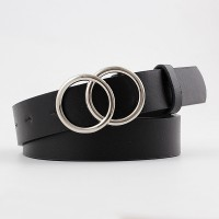 Fashion Wild Belt With Double Loop Buckle - Black