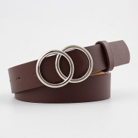 Fashion Wild Belt With Double Loop Buckle - Coffee