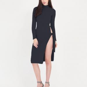 Crop Style Sexy Turtle Neck Bodycon Party Wear Open Skirt Dress - Black