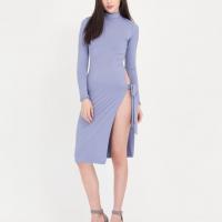 Crop Style Sexy Turtle Neck Bodycon Party Wear Open Skirt Dress - Light Blue