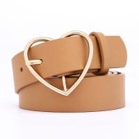 Girls Fashion Heart Pin Buckle Belt - Khaki