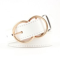 Woman Double Ring Pin Buckle Jeans Belt - White