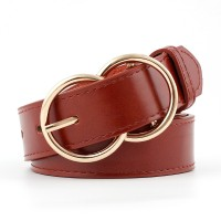 Woman Double Ring Pin Buckle Jeans Belt - Coffee Red