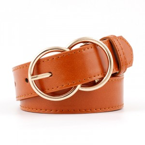 Woman Double Ring Pin Buckle Jeans Belt - Light Brown