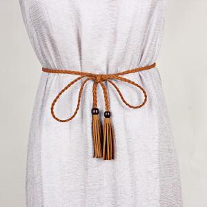 Women Long Fringed Belt - Light Brown
