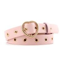 Girls Popular Decorative Belt With Heart Buckle - Pink