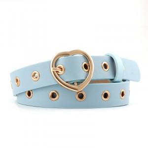 Girls Popular Decorative Belt With Heart Buckle - Sky Blue