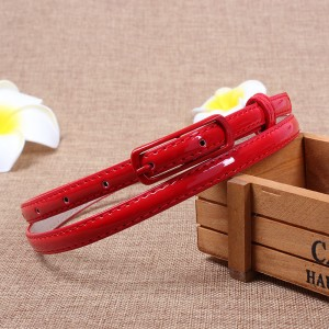 Youth Girl Candy Color Sweet Wild Thin Belt - Red