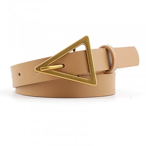 Woman Triangle Buckle Casual Jeans Thin Belt - Light Brown