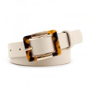 Woman Fashion Leopard Buckle Belt - White