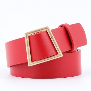 Women Smooth Buckle Without Needle Wide Belt - Red