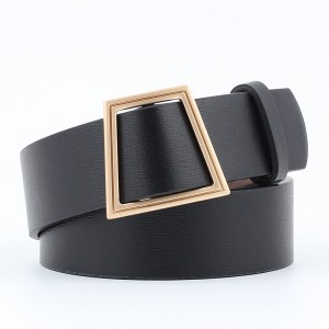 Women Smooth Buckle Without Needle Wide Belt - Black