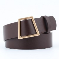 Women Smooth Buckle Without Needle Wide Belt - Coffee