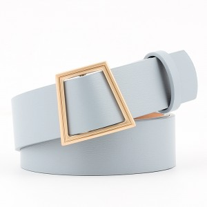 Women Smooth Buckle Without Needle Wide Belt - Sky Blue