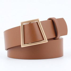 Women Smooth Buckle Without Needle Wide Belt - Light Brown